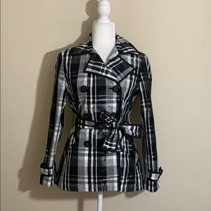 White House Black Market Plaid Rain Coat Trench